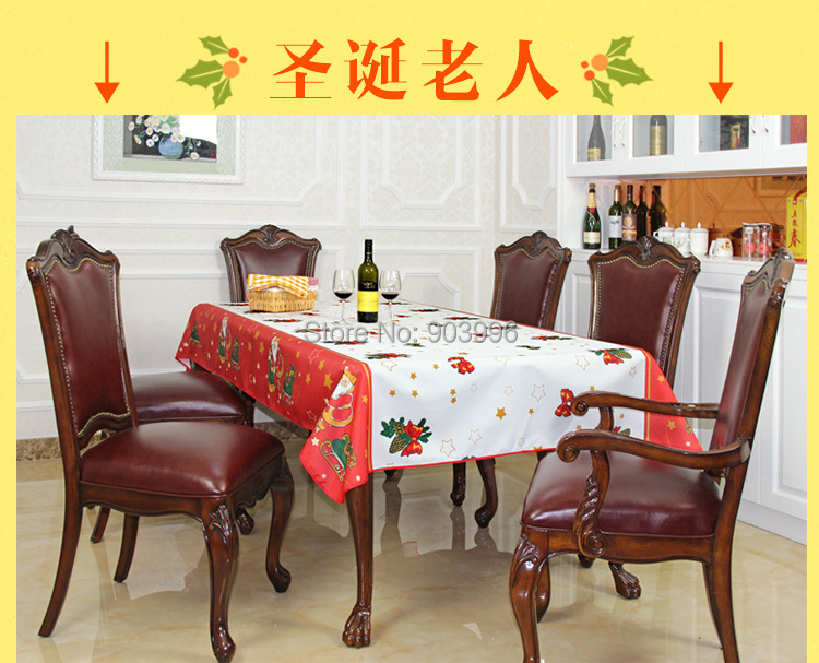 Free shipping-DZH01-Santa Claus-Festive Christmas coffee table cloth restaurant desk cover a radius of waterproof grease