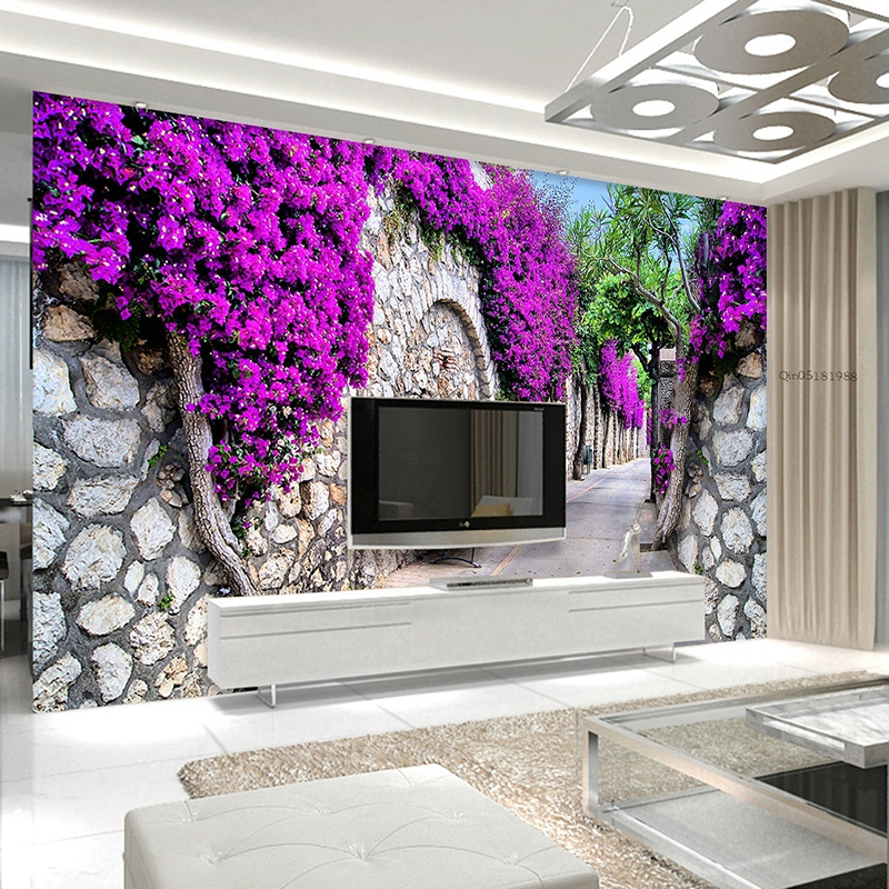 Elegant Fashionable Interior Design Purple Wall Trail 3D Wallpaper For Walls Living  Room TV Backdrop Wall Home Decor Papel De Parede 3 D In Wallpapers From  Home ... Part 23