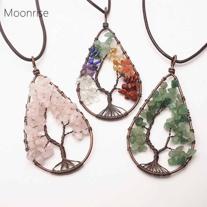 """28mm Natural Gemstone Tree Of Life Stainless Steel Pendant Necklace 20/"""""""