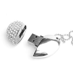 Image 3 - USB flash disk pen drive 64GB Shiny heart pendrive 4G 8G 16GB 32GB 128GB metal memory stick creative gift cle usb2.0 flash drive