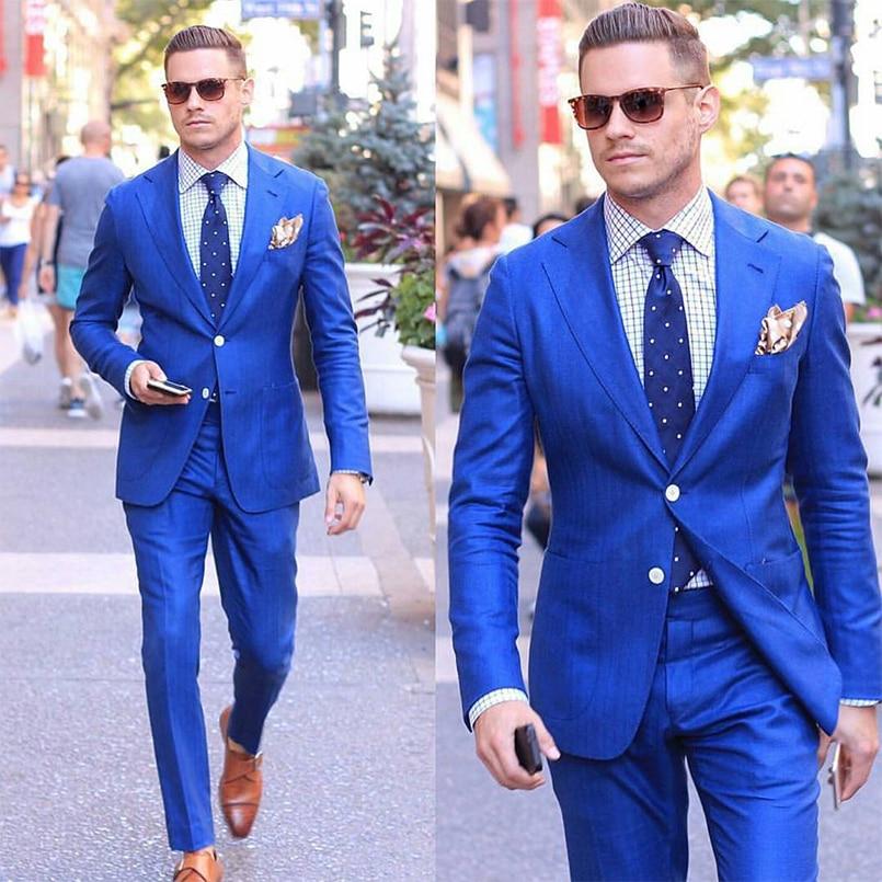 Custom Made Royal Blue Blazer Slim Fit Mens Suits Wedding Groom 2019 Groomsmen Tuxedo Formal Prom Business Suits (Jacket+Pants)