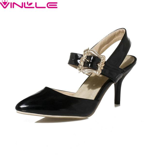 VINLLE Summer Thin High Heel Women Pumps Sexy Patent Leather Women Shoes  Pointed Toe Slingbacks Wedding Shoes Size 34-43
