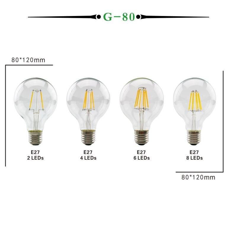 LAN MU LED Edison Bulb E14 G45 LED Bulb E27 G80 G95 G125 Filament Light 220V 2W 4W 6W 8W Antique Retro Vintage Glass Bulb Lamp