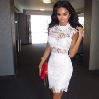Elegant New Hot Summer Sexy Mini Short White Lace Women Special occasion Cocktail Dresses Party Dress