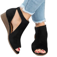 2019 New Summer Wedges Thong Sandals Woman Suede With Buckle Peep Toe Ankle Strap Mujer Shoes Plus Size 35 43 XWZ5068