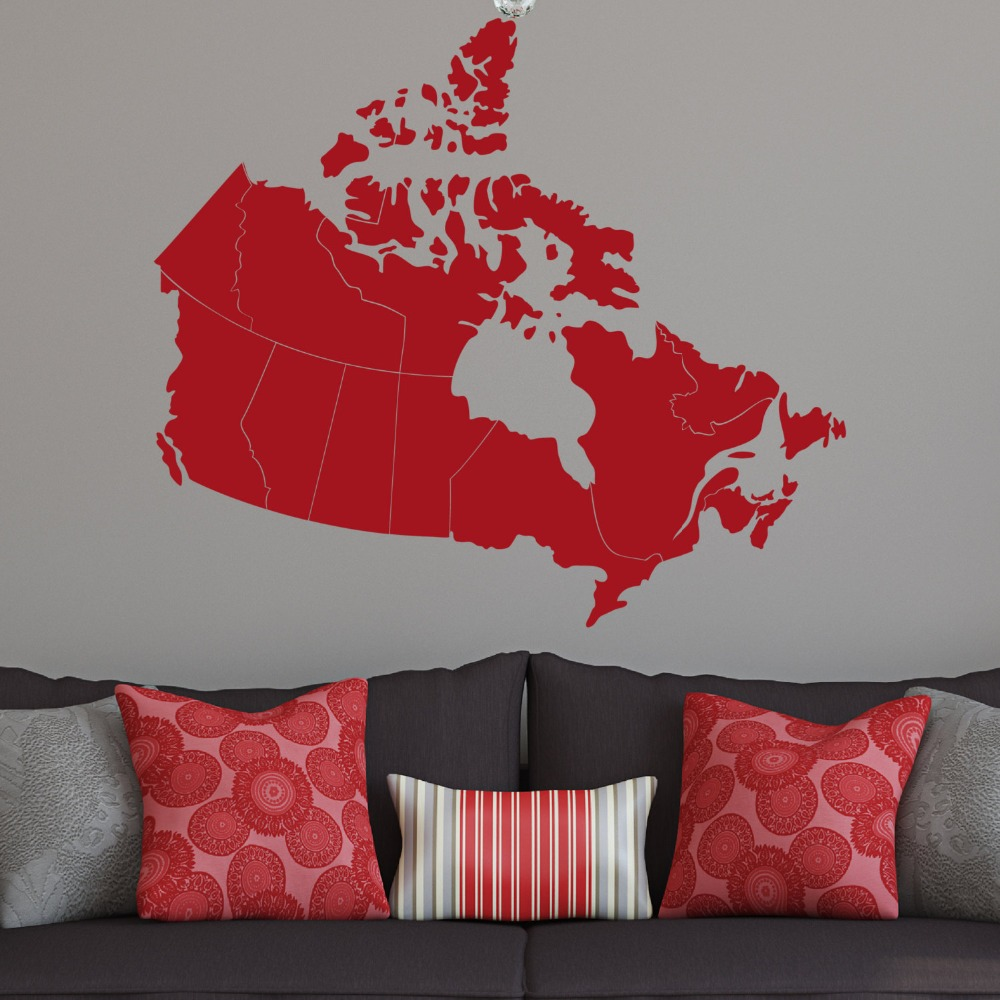 Canada carte 36 w stickers muraux carte patriotique œuvre feuille dérable canadienne vinyle imperméable adhésif stickers muraux articles ménagers syy518