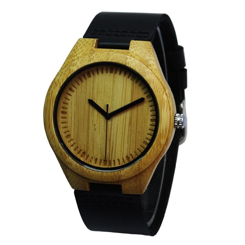 뜨거운 마케팅 패션 가죽 대나무 나무 시계 남자의 높은 Qulity 선물 2015의 남편 패션에 대 한 최고의 크리스마스 선물