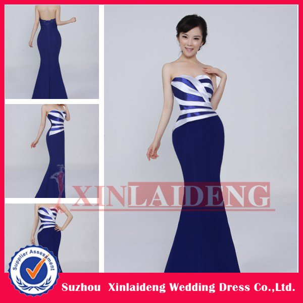 EVD081 real picture 2012 A line satin sweetheart navy blue and white ...