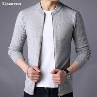 Liseaven мужской свитер, мужская куртка, однотонные свитера, трикотаж, теплый свитер, кардиганы, мужская одежда