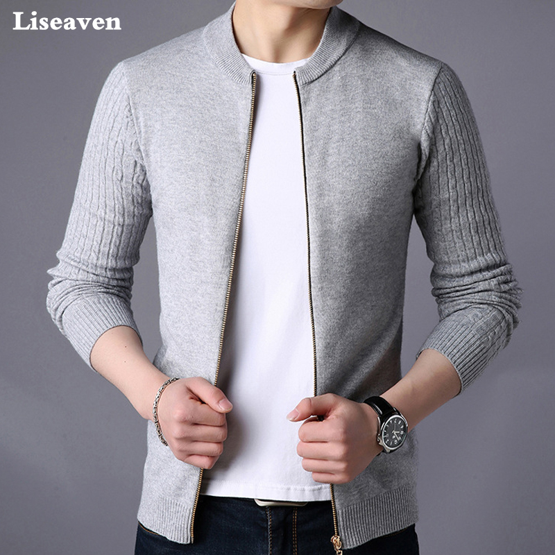 Liseaven Men's Sweater Male Jacket Solid Color Sweaters Knitwear Warm Sweatercoat Cardigans Men Clothing(China)
