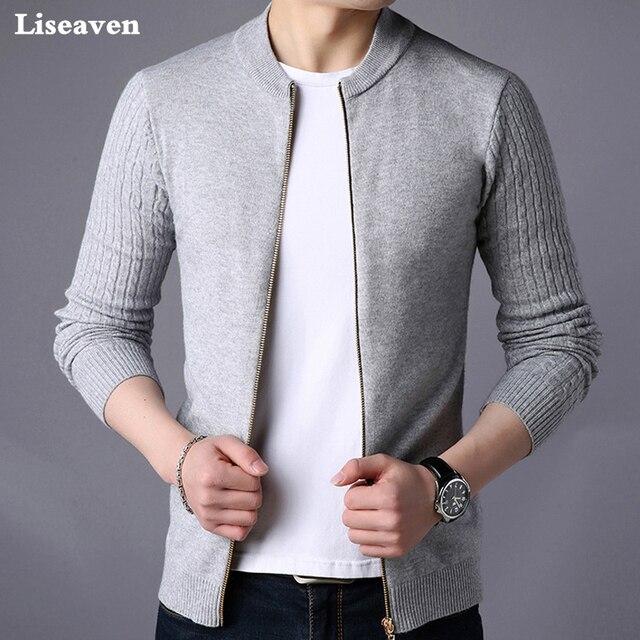Liseaven גברים של סוודר זכר מעיל מוצק צבע סוודרים סריגי חם Sweatercoat סוודרים גברים בגדים