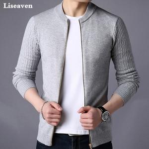 Liseaven Men's Sweater Male Jacket Solid Color Sweaters Knit
