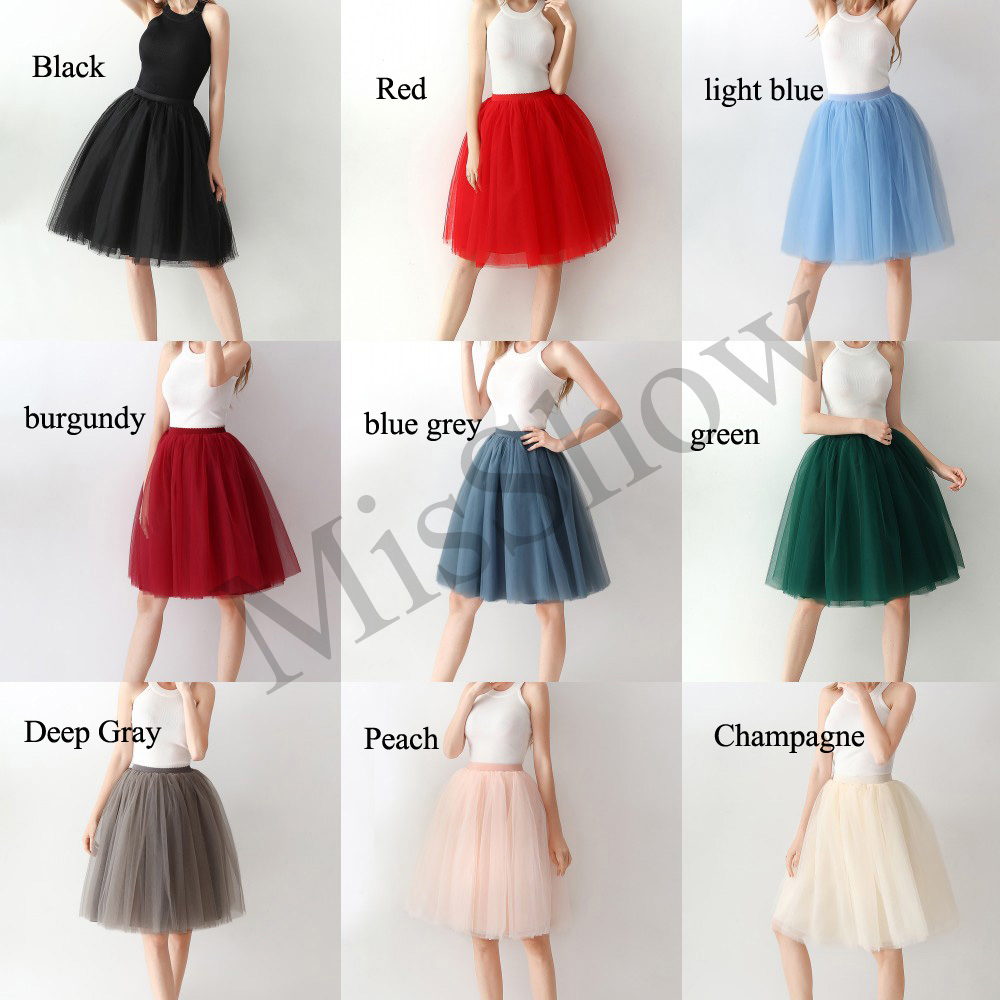 Купить с кэшбэком New 2019 Short Petticoat Tulle Skirts Womens Elastic Stretchy 65CM 6 Layers Summer Spring Adult Tutu Skirt Underskirt Rockabilly