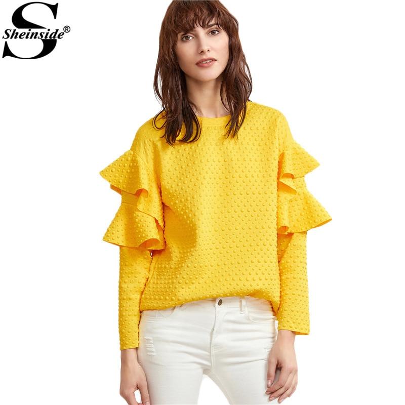 Sheinside Layered Ruffle Sleeve Blouses Women Yellow Polka Dot Embossed  Cute Tops 2017 New Fashion Spring - Popular Yellow Blouse Women-Buy Cheap Yellow Blouse Women Lots