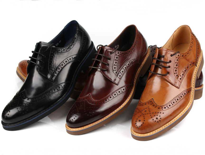 Fashion Brown Tan / Black / Brown Dress Shoes Mens Business Shoes Genuine Leather Wedding Shoes Male Oxfords Social Shoes mycolen mens genuine leather shoes dress italian leather male shoes elevator glitter black brown business shoes four seasons