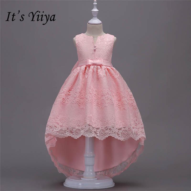 It's yiiya Fashion Beading Floor-length   Girl     Dresses   Elegant O-neck Sleevelss   Flowers     Girls     Dress   w139