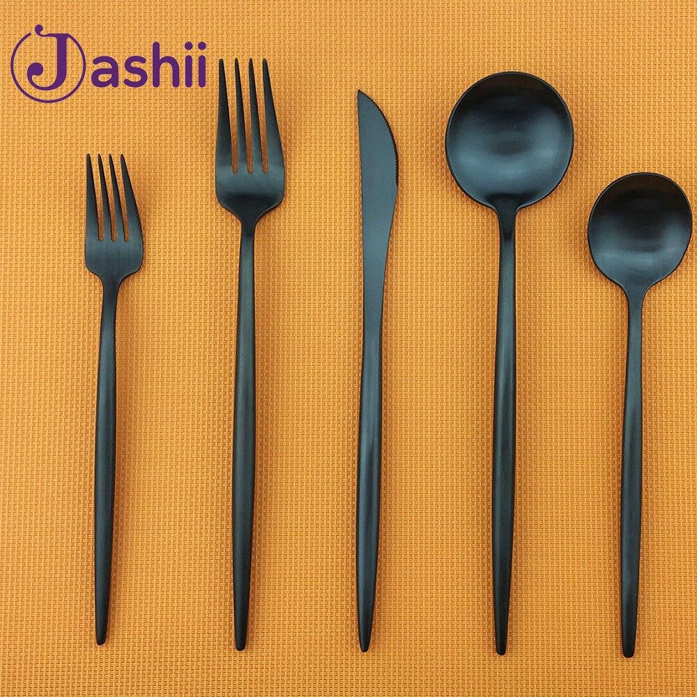20 pièces Top qualité vaisselle ensemble en acier inoxydable mat noir couverts ensemble couteau fourchette Dessert Scoop fête vaisselle livraison directe
