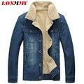 LONMMY M-5XL 2016 Winter Jeans jacket men casual Denim men jacket Velvet Lapel collar Slim fit cowboy coats men 2016 jaqueta