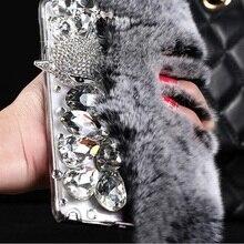 Для Samsung Galaxy A5 2017 случай Кролик волосы мех лисы Силиконовые Bling Алмаз чехол для Samsung Galaxy A5 A7 2017 Блеск ТПУ чехол