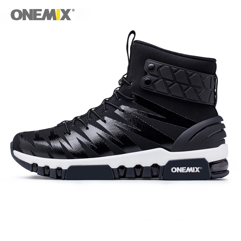onemix men sport sneakers high top boots for man running shoes classic black walking shoes unisex athletic sneakers size 36-46 onemix 2017 new men running shoes breathable boy sport sneakers unisex athletic shoes increasing height women shoes size 36 45