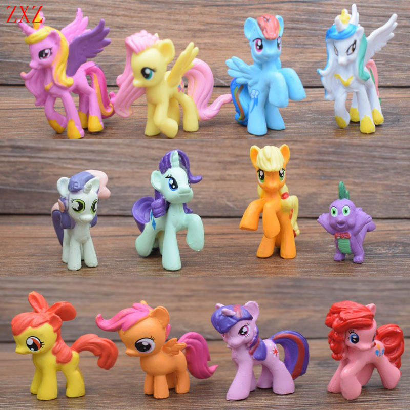 Collection Model Toys for Children Anime cartoon Lovely Rainbow Horse Princess Luna PVC Unicorn Poni decor beautiful horse girl цены онлайн
