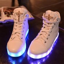 Fashion High quality 7 Colors LED font b Luminous b font unisex Men high top LED