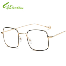 New Men Women Literature Nerd Glasses Square Plain Alloy Metal Glasses Clear Lens Eyewear Unisex Retro Eyeglasses Spectacles