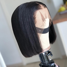 Deep Parting 2*6 Lace Front Human Hair Wigs Straight Brazilian Virgin Bob Short Frontal Wigs For Black Women Bleached Knots