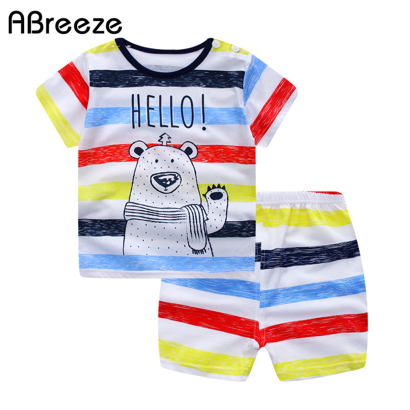 2018 gaya musim panas baru set pakaian anak-anak, Pakaian katun - Pakaian anak anak