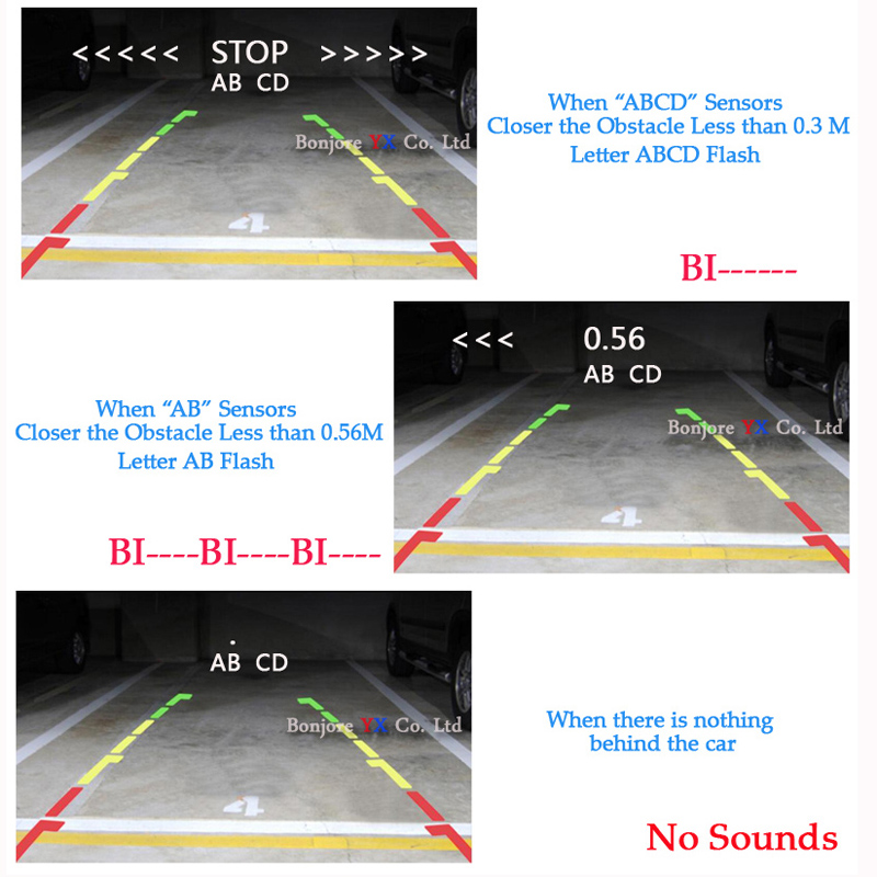 Koorinwoo 3in1 Parkplatz Sensor 4 Video Sysem Digital Screen-Monitor Spiegel Parktronic System Auto-detektor rückfahrkamera