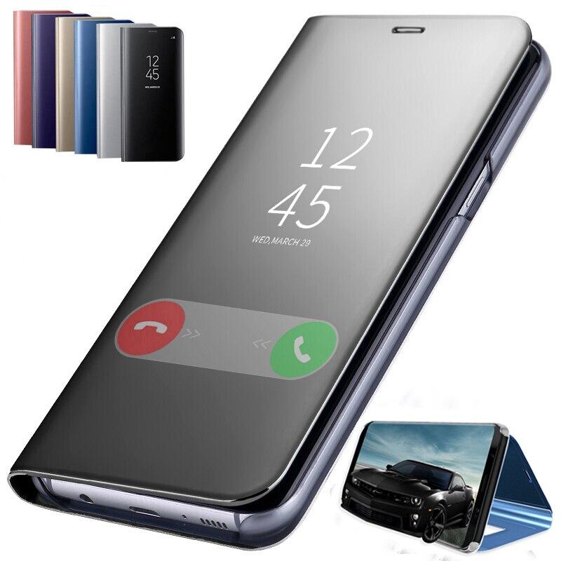 Espejo inteligente Flip de cuero de pie para Samsung Galaxy J4 J6 J8 A7 A9 A6 A8 Plus 2018 J3 J5 J7 A3 A5 2016 2017 S6 S7 borde