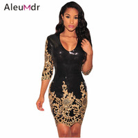 Black Victorian Gold Sequins 3 4 Sleeves Bodycon Dress