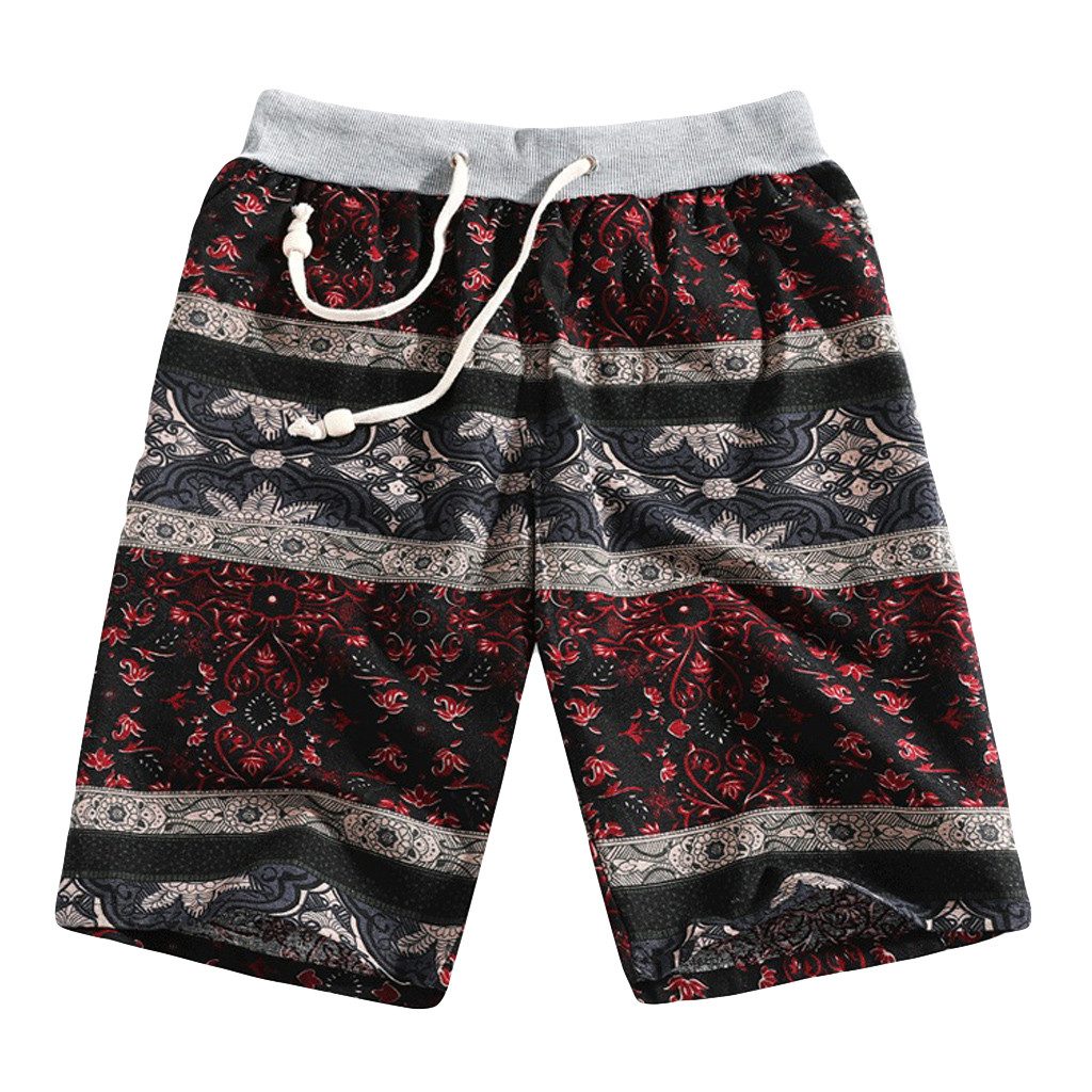 Men's Summer Fashion Casual Ethnic Style Printed Loose Linen Beach Shorts Pants Support Wholesale And Dropship