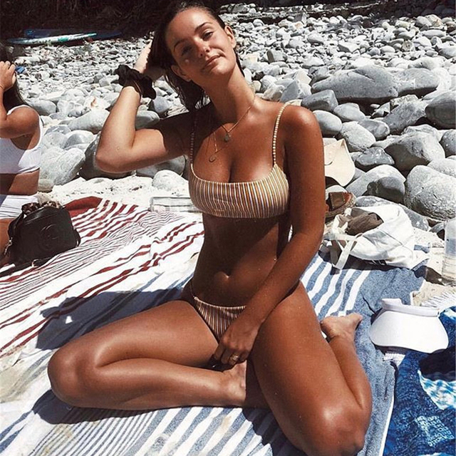 bee3ae2de 2019 Cheeky Bottom Sexy Brazilian Mini Thong V Shape G-String Bikini Set  Beach Underwear Swimwear Briefs Swimsuit
