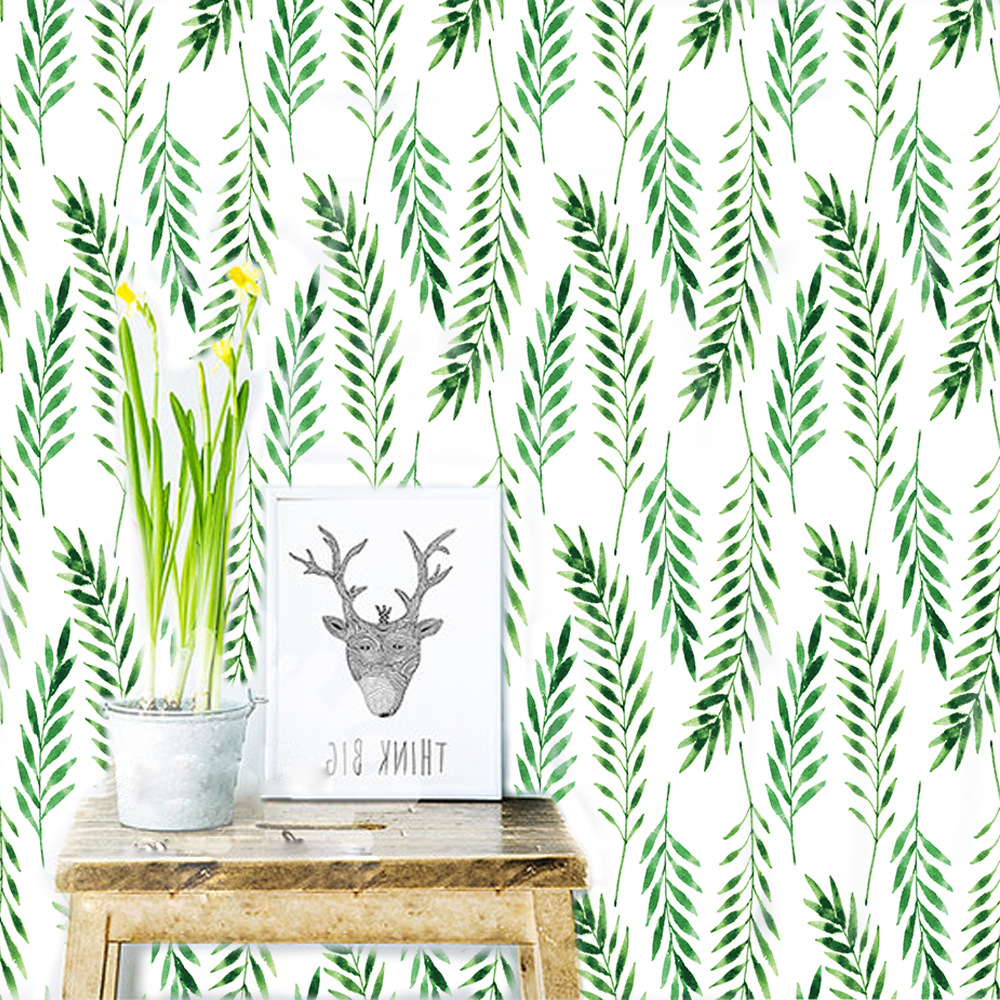Balleenshiny DIY 30pcs/Set Green Leaves Wall Stickers Nordic Fresh Bedroom Porch Cabinet Living Room Home Decorative Mural Decal