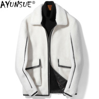 AYUNSUE Real Fur Coat Men Sheep Shearing 100% Wool Coat White Autumn Winter Jacket Mens Clothing 2018 Short Jackets KJ1139