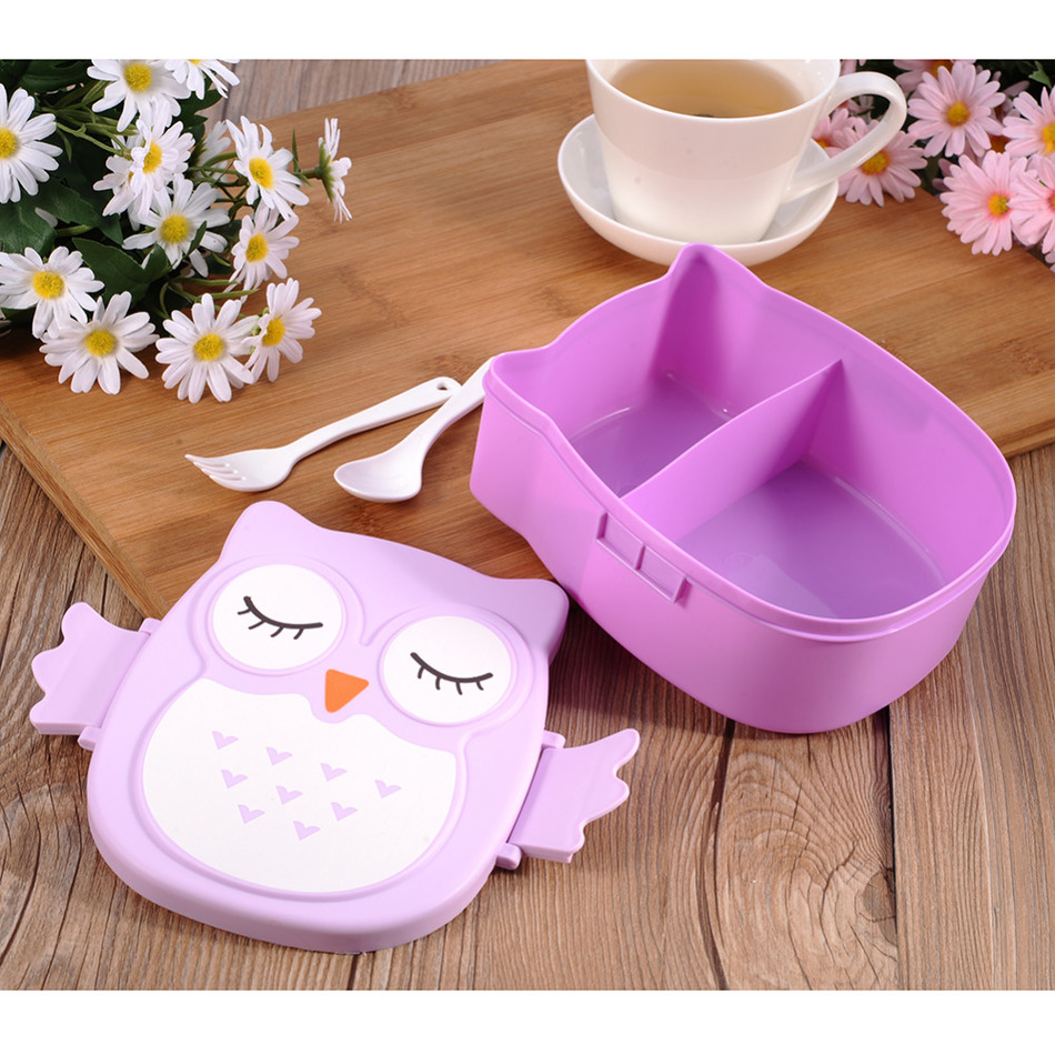 1pc Cartoon Owl Lunch Boxs Food Fruit Storage Container Portable Bento Box Safe Food Picnic Container Hot Lunchbox Children Gift(China (Mainland))