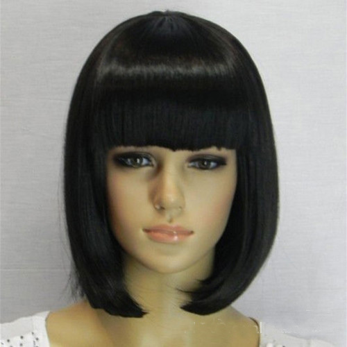bob wig with bangs Black