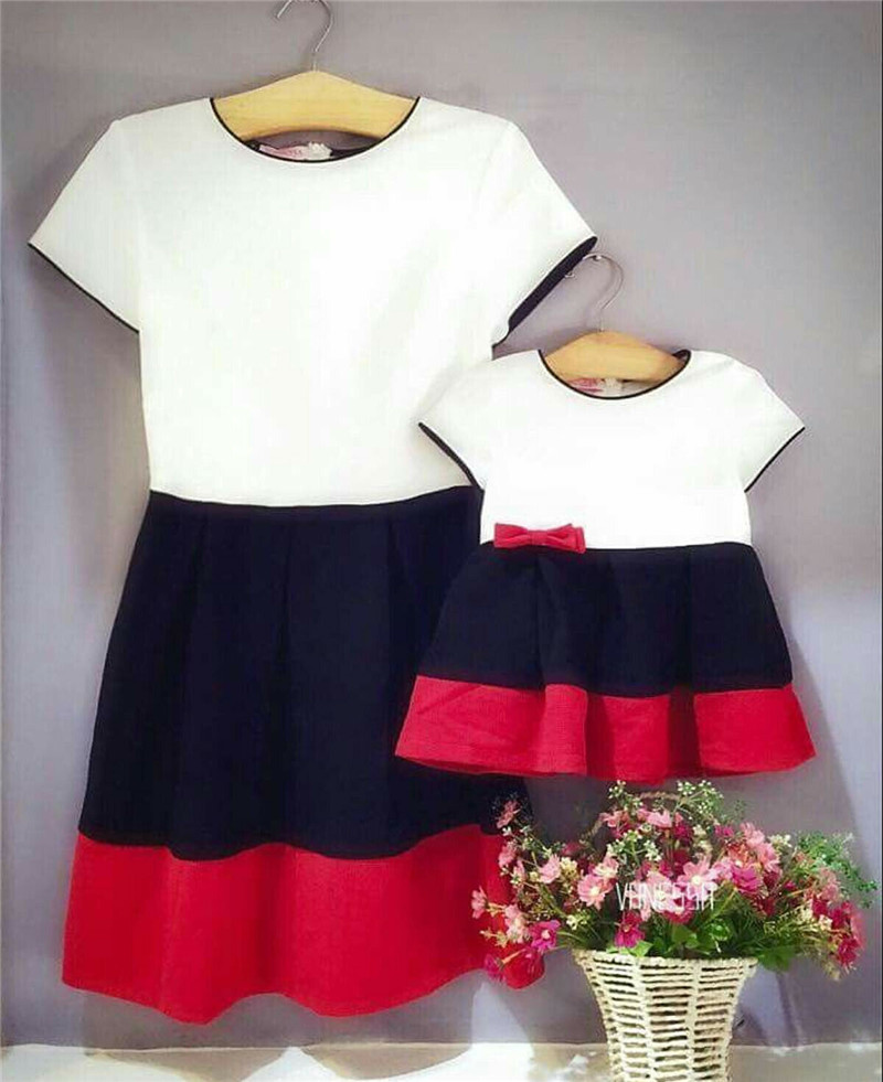 Mama And Daughter Dress Clothing Family Matching Outfits Mother Girl Short Cotton Mom Dresses Print Striped