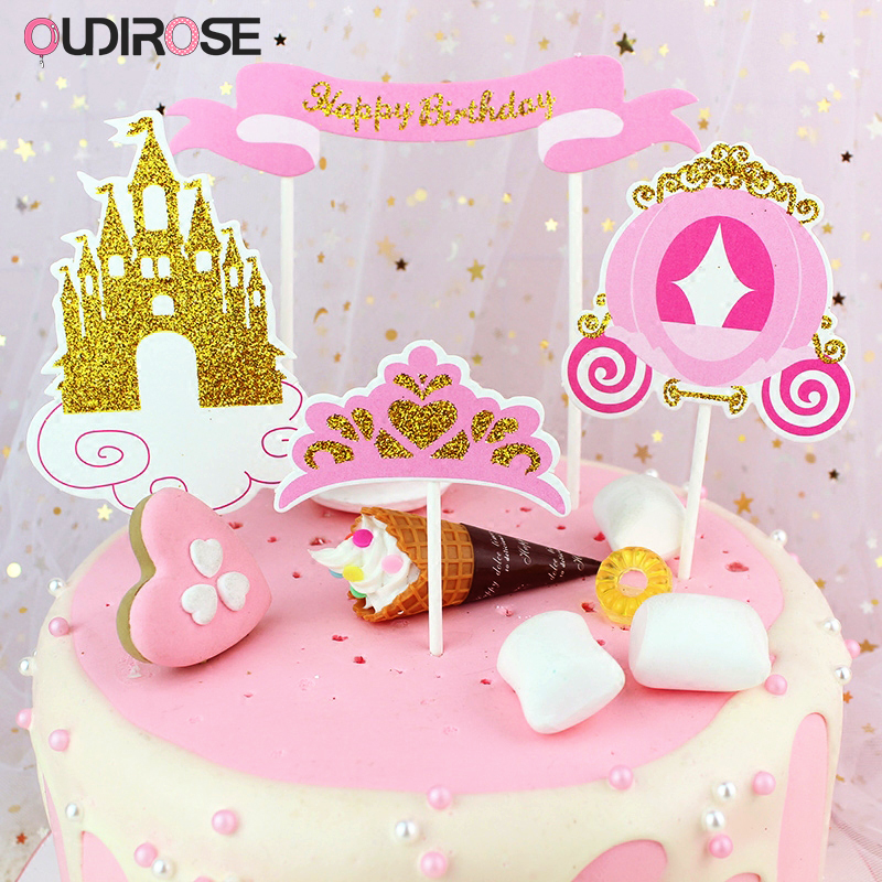 Aliexpress Buy Flash Gold Pink Paper Happy Birthday Cake Topper Castle Of Love Top Flag Decoration Boy Girl Party Wedding Supplie From