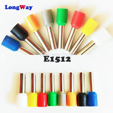 цена на E1512 Insulated cord end terminals Insulating Crimp Terminal Connector 100PCS Tube 1.5mm Cable Connector wiring terminal