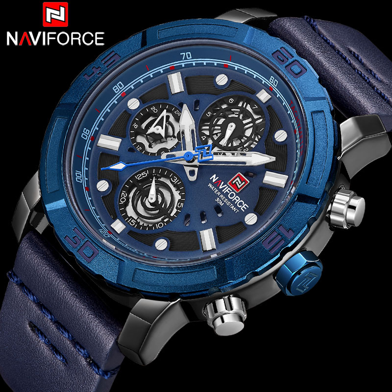 NAVIFORCE Top Brand Military Sport Watch Men Waterproof Analog Quartz Watches Man Leather Band Blue Calendar Clock 24 Hour 9139 все цены