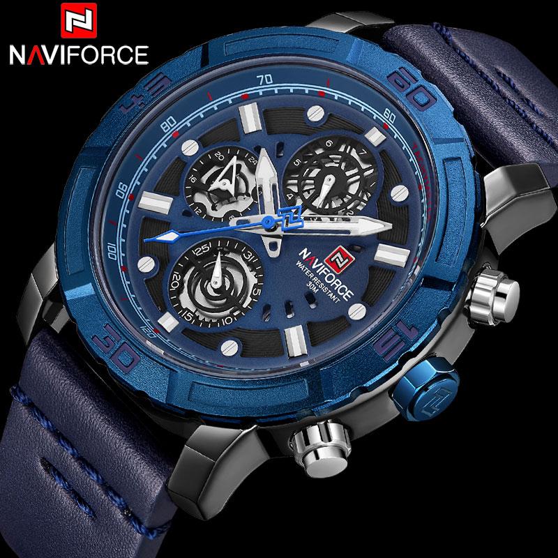 NAVIFORCE Top Brand Military Sport Watch Men Waterproof Analog Quartz Watches Man Leather Band Blue Calendar Clock 24 Hour 9139 super speed v0169 fashionable silicone band men s quartz analog wrist watch blue 1 x lr626