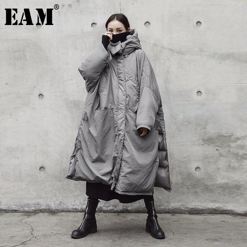 [EAM] 2018 Новый осень-зима с капюшоном Цвет светло-серый утолщение большой Размеры Vent теплое пальто Для женщин куртки мода прилива JE02002