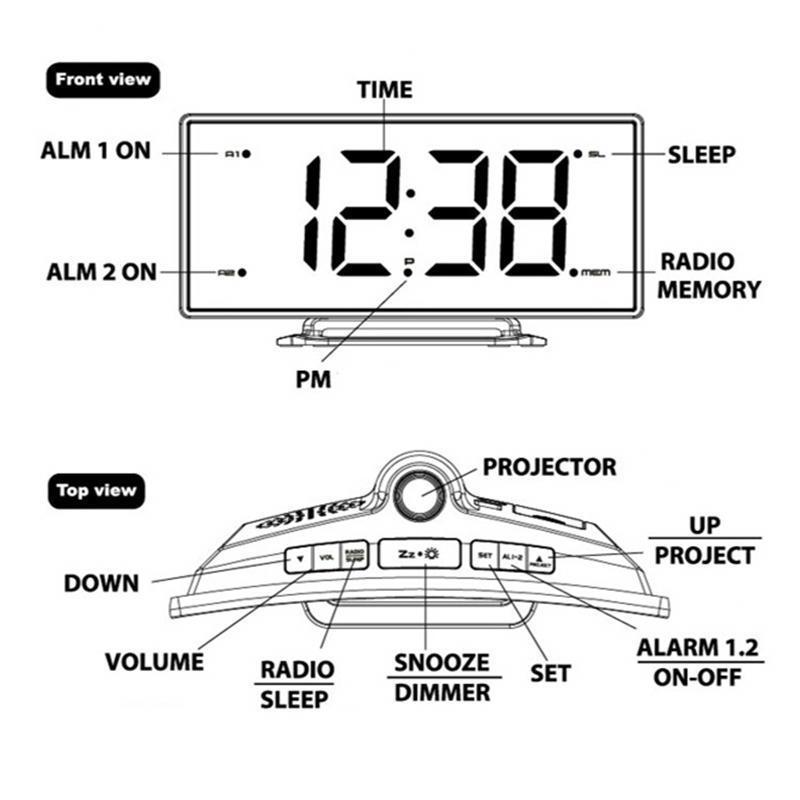 Image 5 - FM Radio Alarm Clock LED Digital Electronic Table Projector Watch Desk Nixie Projection Clock With Time Projection-in Alarm Clocks from Home & Garden