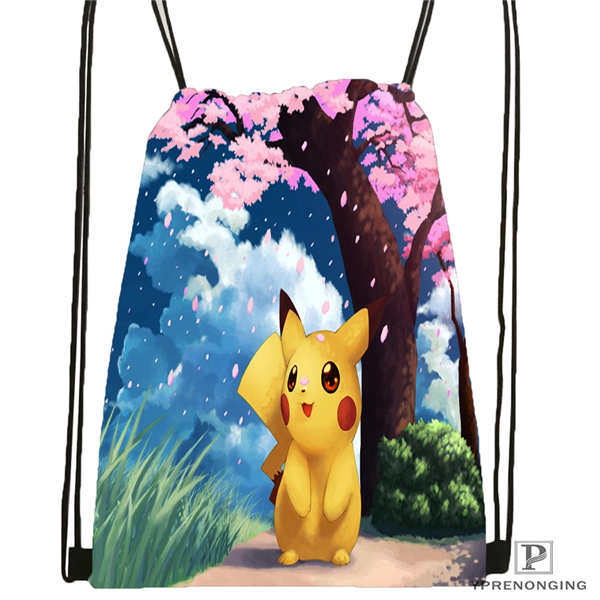 Custom Pikachu_and_kirby Drawstring Backpack Bag Cute Daypack Kids Satchel (Black Back) 31x40cm#180611-01-09