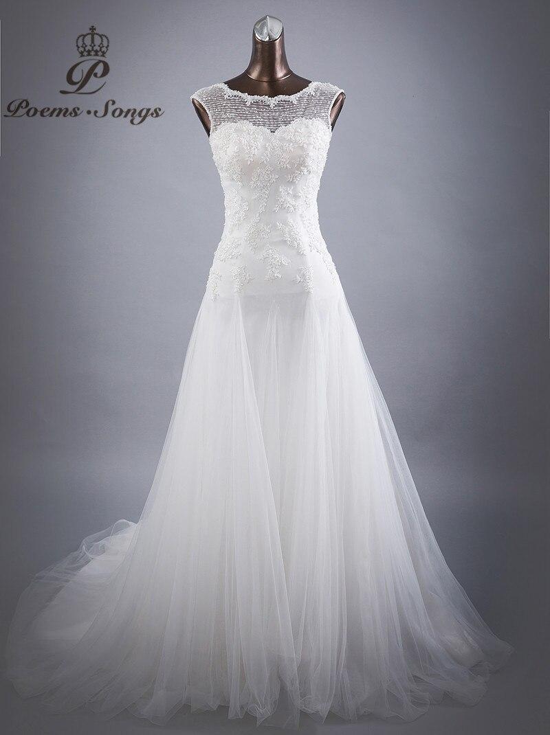 Poems Songs high quality custom made handwork neck style Wedding dresses for wedding vestido de noiva Bride dress