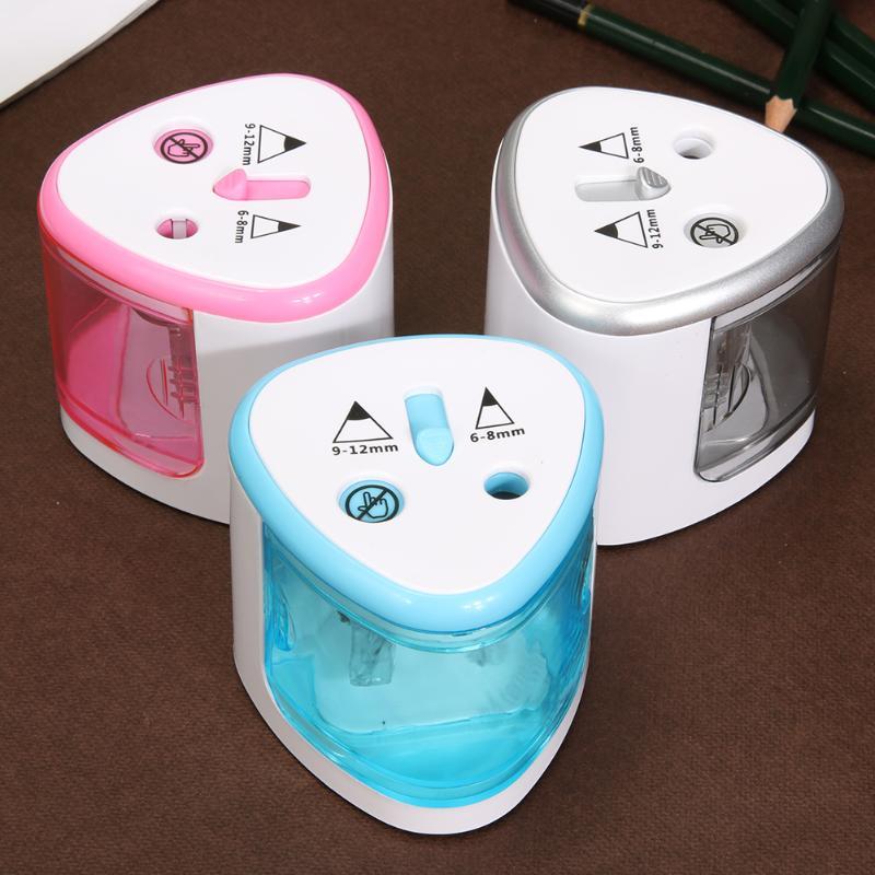VODOOL Elétrica Apontador de Lápis Criativo Automatic Two-Hole Elétrica Interruptor de Toque Apontadores Aplicar A 6-8mm e 9-12mm