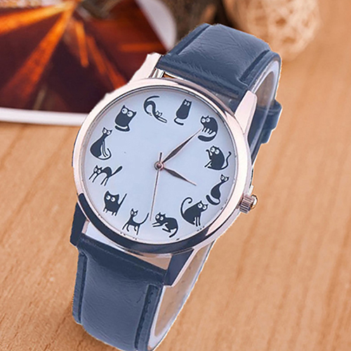 Women Casual Cat Sun Pattern Dial Faux Leather Band Analog Quartz Wrist Watch quartz watch with small diamond dots indicate leather watch band hearts pattern dial for women