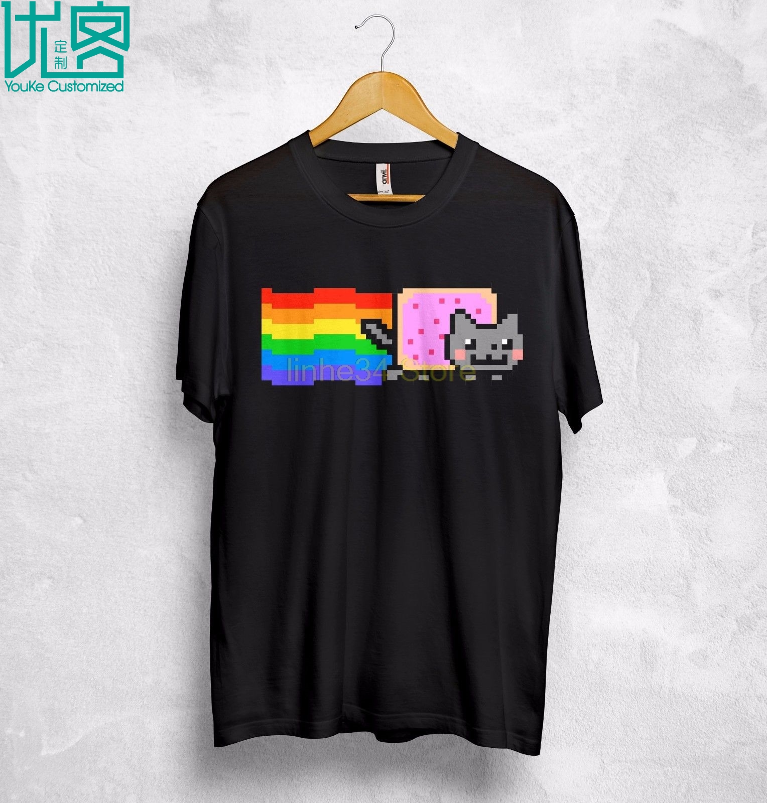 Nyan KittenT Shirt Top YouTube Funny Gift Internet Meme Japanese Pop Song T Shirt Style Fashion Men T-Shirts Top Tee image